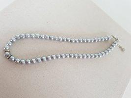 Retro Kette Collier de perles gris-gris clair