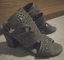 Graue Sandalen mit Lochmuster & Glitzer, kaum getragen, Gr. 38