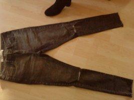 graue Skinny Jeans mit Cutouts 40