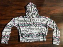 Grauer Crop-Pullover mit Kaputze und Inka-Print