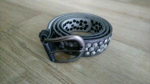 Studded Belt silver-colored-light grey leather