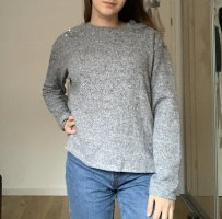 H&M Oversized Sweater light grey-silver-colored