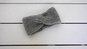 Graues Stirnband aus Alpaka/Wolle/Tierhaar