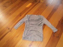 H&M Koszulka z dekoltem woda szaro-brązowy Wiskoza