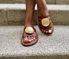 Sandalias cómodas marrón Cuero