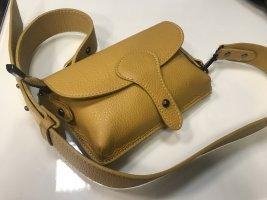 Grossbody Handtasche Tasche Vintage Look Leder Umhängetasche senf neu