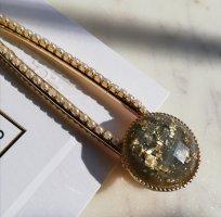 Große Acetat Haarspange anthrazit mit Gold Flakes und Perlen