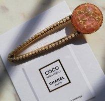 Große Acetat Haarspange apricot mit Gold Flakes und Perlen