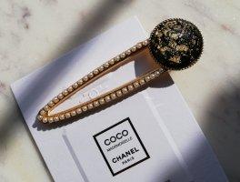 Große Acetat Haarspange schwarz mit Gold Flakes und Perlen