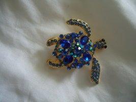 Große blaue Schildkröte Brosche