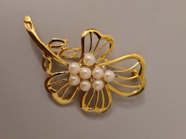 Vintage Broche color oro-crema