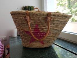 Bolso tipo cesta marrón arena-rojo neón