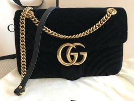 Große Marmont Gucci Tasche in samt schwarz wie neu