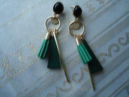 Boucle d'oreille incrustée de pierres gris vert-noir