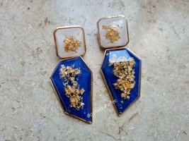 Pieces Statement Earrings gold-colored-steel blue