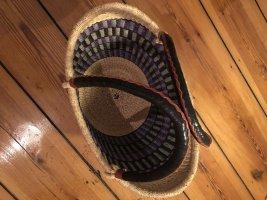 Großer Strohkorb mit Lila Muster Basttasche Einkaufskorb