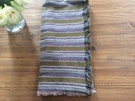 Großes Halstuch mit Streifen & silbernen Fäden