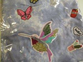 großes Tuch Vierecktuch Schal mit Patches gebatikt in Jeansbau / Blau NEU