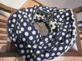 Accessorize Wełniany szalik ciemnoniebieski Tkanina z mieszanych włókien