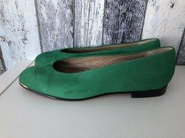 grüne Ballerinas / Pumps / Flache Schuhe mit goldener Verzierung von Vero Cuoio - Leder- Gr. 40,5