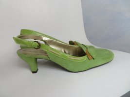 grüne Daniel Hechter Sling Pumps aus Veloursleder mit Schleife - Größe 40 - neuwertig