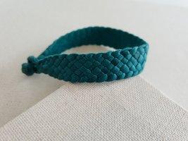 Bracelet en cuir bleu cadet-bleu pétrole