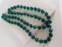 Collier de perles vert foncé-bleu pétrole