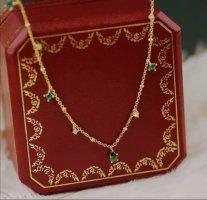echt Silber 925 Złoty łańcuch złoto-leśna zieleń