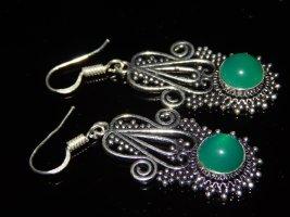 925 Silver Earrings neon green-dark grey metal