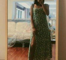 grünes Blumen Midi Sommer Kleid