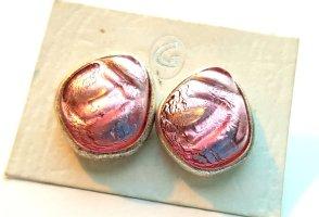 Kolczyk ze sztyftem biały-różowy neonowy Tkanina z mieszanych włókien