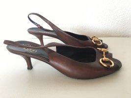 Gucci  39 Horsebit Sandalen Braun  Absatz Schuhe