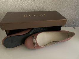 Gucci Ballerina di pelle verniciata color oro rosa