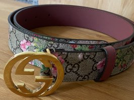 Gucci Cinturón de cuero beige-rojo Cuero