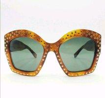 Gucci Okulary motylki brąz-złoto