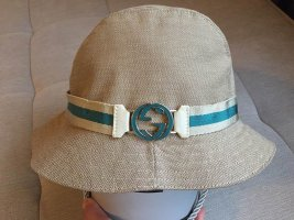 Gucci Sombrero de ala ancha beige claro-azul cadete Algodón