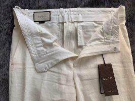 Gucci Lniane spodnie w kolorze białej wełny Len