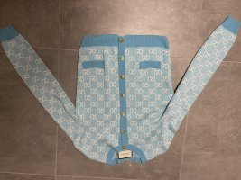 Gucci Fine Knit Jumper white-neon blue wool