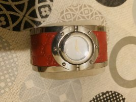 Gucci Watch With Leather Strap dark red