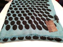 Gucci Châle au tricot noir-bleu pâle