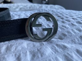 Gucci Pasek materiałowy czarny-srebrny Skóra