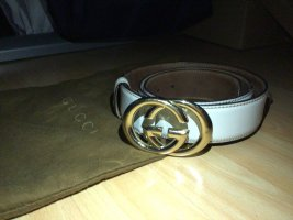 Gucci Leather Belt gold-colored-natural white