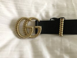 Gucci Leather Belt black-dark yellow leather