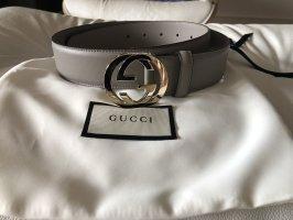 Gucci Cinturón de cuero gris claro-color oro