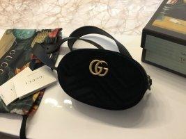 Gucci Gürteltasche schwarz, Samt, GG Monogramm, neu