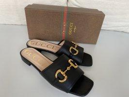 GUCCI Horsebit Low Sandal Slide Black