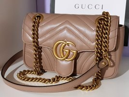 Gucci Marmont Mini Flap Bag Mauve Porcelain Rose Blassrosa Taupe