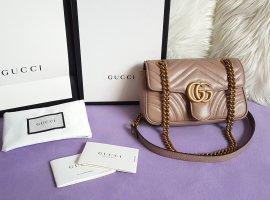 Gucci Marmont Mini Flap Bag Mauve Porcelain Rose Blassrosa Taupe