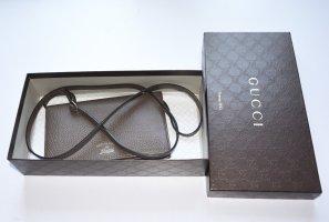 Gucci Mini Bag Swing Wallet Crossbody Tasche Leder Taupe m. Box Wallet