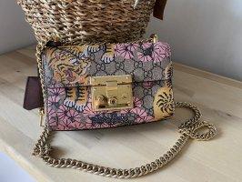Gucci Padlock GG Supreme Crossbody Bag Bengal Print Pink/Beige